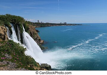 View from Duden Waterfall in Antalya at Lara Beach in the...