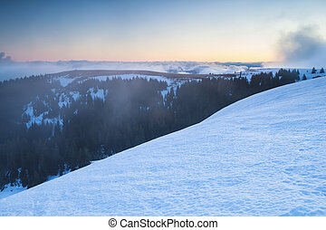view from Feldberg mountain top in winter