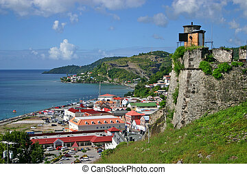 a view of a section of St. Georges, Grenada, from Fort George