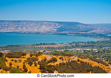 Galilee Sea - View from Galilee Mountains to Galilee Sea,...
