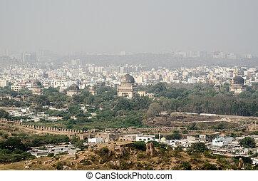 View from Golkonda Fort towards Sev