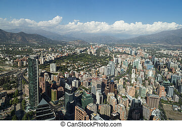 View from Gran Torre Santiago - Panoramic city view from the...