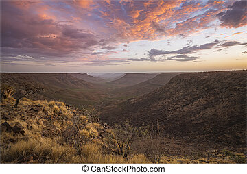 View from Grootberg plateau into the valley of the Klip ...