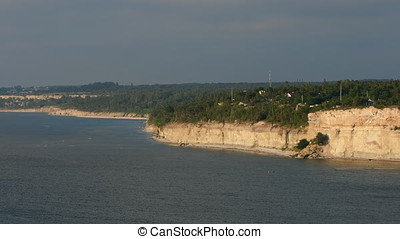 View from Höklint over the eroded limestone coast on the...