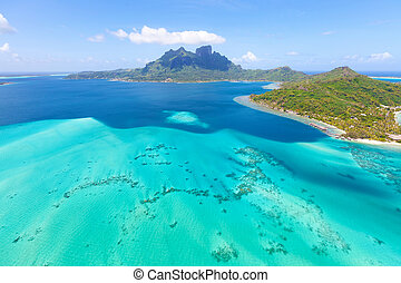 view from helicopter at mount otemanu at bora bora island, french polynesia