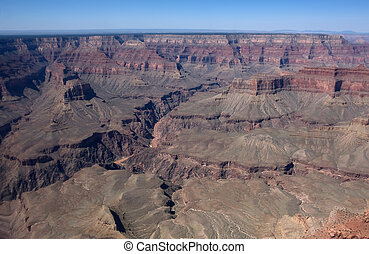 View from helicopter to Grand Canyon