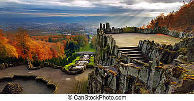 View from Hercules monument Germany - Magnificent view from...