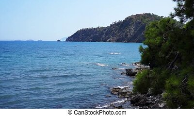 View from hill to Mediterranean Sea in Phaselis. City of ancient Lycia. Turkey.