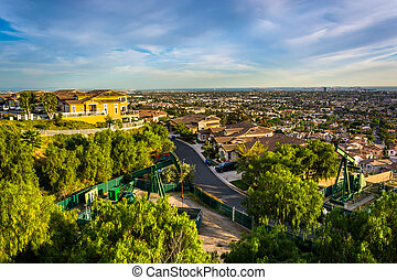 View from Hilltop Park, in Signal Hill, Long Beach,...