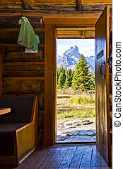 View from inside a Log Cabin