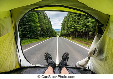 View from inside a tent on the road