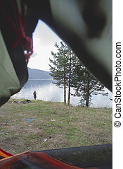 View from inside the tent.
