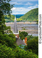 View from Jefferson Rock, in Harpers Ferry, West Virginia.
