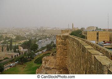 View from Jerusalem old city walls in sandstorm. Jerusalem, Israel