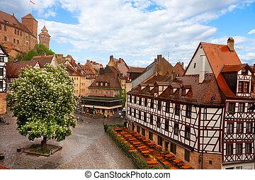 View from Kaiserburg of Fachwerk houses, Nuremberg