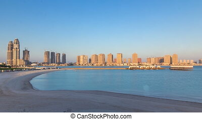 View from Katara Beach timelapse in Doha, Qatar, towards the...