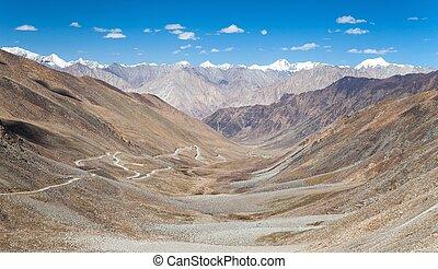 View from Khardung La pass to Karakoram range
