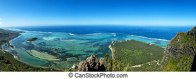 View from Le Morne Brabant onto the turquoise waters of the ...