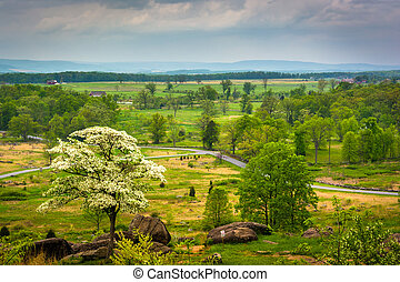 View from Little Round Top in Gettysburg, Pennsylvania. -...