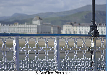 View from Llandudno Pier towards Town on the coast of North ...
