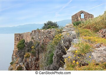 View from Monemvasia city at cliff - Ruins of ancient Greek ...