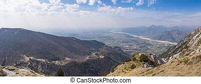 View from Monte Chiampon to Friuli-Venezia Giulia in Italy -...