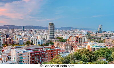 View from Montjuic over Barcelona day to night timelapse, Catalonia, Spain.