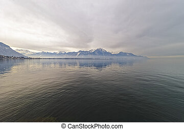 View from Montreux to Water reflection of Lake Geneva