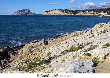 View from Moraira towards Calpe in Spain