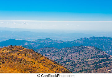 View from Mount Hermon to the Golan Heights, Israel