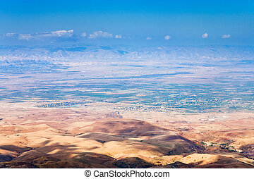 view from Mount Nebo in Jordan - view of Promised Land from ...