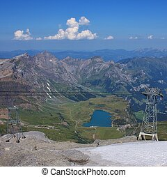 View from mount Titlis towards Engelberg. Lake Trubsee. -...