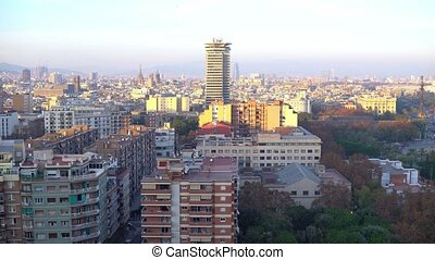 barcelona cityscape panorama , 4k spain shot - View from...