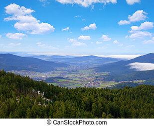 View from mountain Grosser Osser in National park Bavarian forest