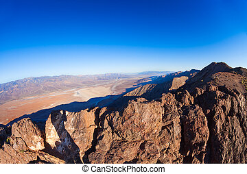 View from mountain peak over Death Valley panorama