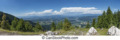View from mountain Petzen to valley Drau in Carinthia in...