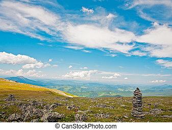 View from mountains peak. Altai, Siberia