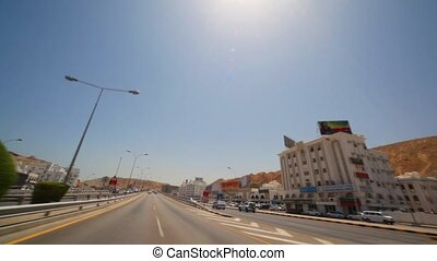 view from moving car in Muscat - capital of Oman