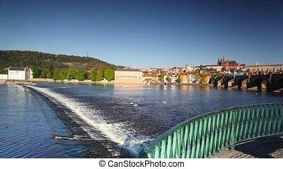 View from Novotny footbridge of Prague Castle