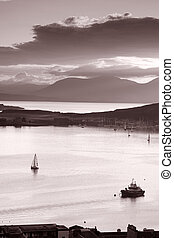 View from Oban Folly, Scotland in Black and White Sepia Tone