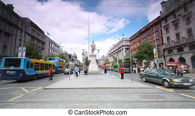 View from O'Connell Street on Monument of Light and marble statue of John Gray