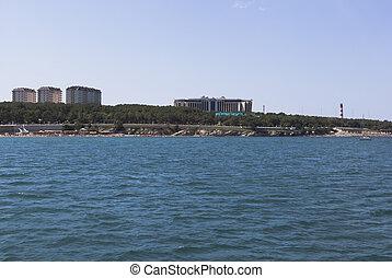 View from of the sea on a Thick Cape of Gelendzhik Bay. City resort Gelendzhik, Krasnodar Region, Russia