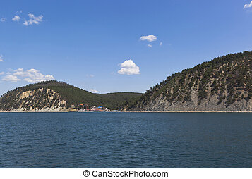 View from of the sea on resort settlement Dzhanhot in Gelendzhik district of Krasnodar region