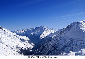 View from off-piste ski slope. Caucasus Mountains, mount...