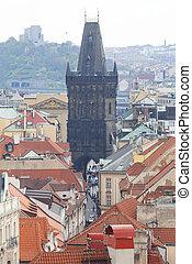 View from Old Town Hall on Prague, Powder Tower, Prague Czech Republic