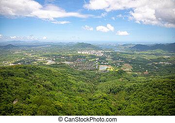 View from panorama glass bridge in the Yanoda rain forest park on Hainan Island in the city of Sanya, China