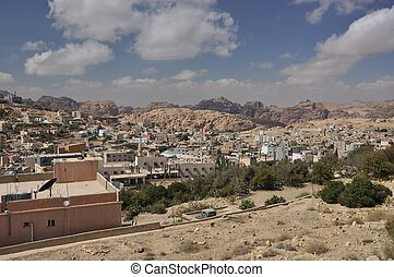View from Petra town to archeological site Petra