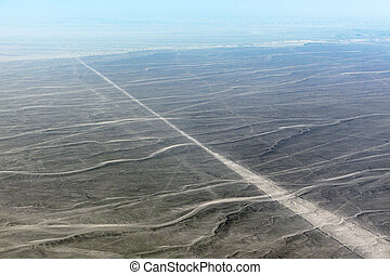 view from plane on plateau Nazca - view from plane on the ...