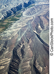 geoglyphs plateau Nazca - view from plane on the geoglyphs ...