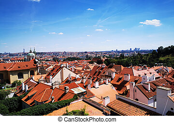 view from Prague castle to the city